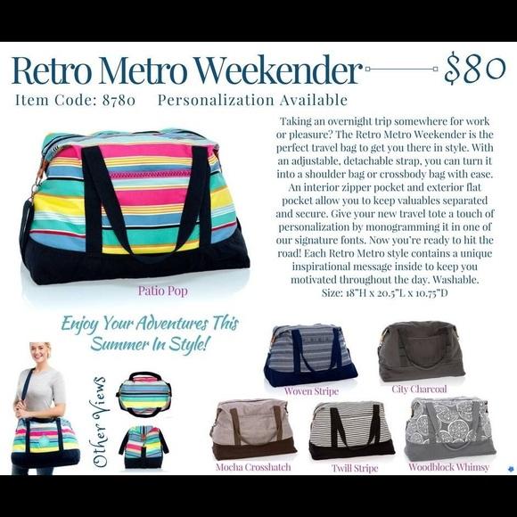 bb4ad98299c2 Thirty One Retro Metro Weekender- Woven Stripe Boutique